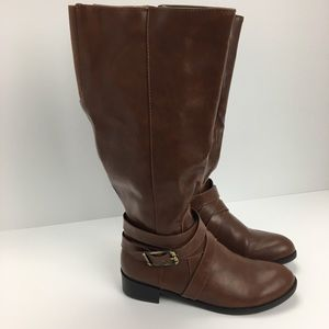 Knee High Wide Leg Boots With Buckle & Side Zip